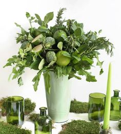 How to Style an All-Green Bouquet for Saint Patrick's Day - Garden Collage Magazine Collage, Clovers, Saint Patrick, Limes, Garden Styles, Geraniums, Grocery Store, Parsley, St Patricks Day