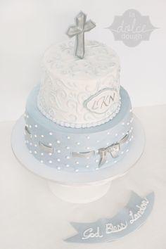 Blue and Silver Boy's Baptism Cake - La Dolce Dough, Sylvania Ohio