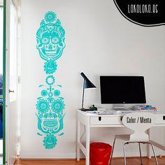 #Vinilodecorativo con 2 #calaverasmexicanas, perfecto para puertas o armarios / #Wallsticker with 2 #mexicanskulls, perfect for doors or wardrobes