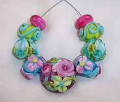 Lampwork Glass Beads Colorful Summer Garden by carolynsbeads, $30.00