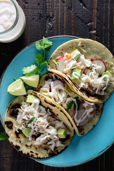 Halibut Tacos with Chipotle Lime Yogurt ~ http://www.healthy-delicious.com
