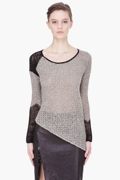 HELMUT LANG //  GREY FLECKED ASYMMETRIC COMBO SWEATER//  love asymmetrical shapes.