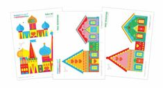 Printable paper Russian townscape table decoration templates!