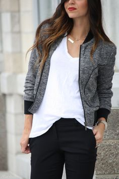 Look to love. Robyn's sweatshirt-jacket is effortlessly chic. Black pants and a simple white tee keep this look simple and sleek. Click for more style inspiration!