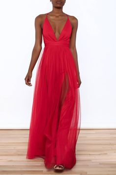 f4fedbbec3f4a Red maxi dress with a layered tulle skirt, deep v-neckline, high slits.  Shoptiques