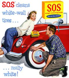 S.O.S. Scouring Pads 1956 vintage ad.  Cleaning the white-wall tires on a red…