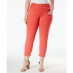 Michael Michael Kors Plus Size Izzy Cropped Pants ($84) ❤ liked on Polyvore featuring plus size women's fashion, plus size clothing, plus size pants, plus size capris, sangria, plus size trousers, skinny pants, plus size white pants, plus size skinny pants and michael kors