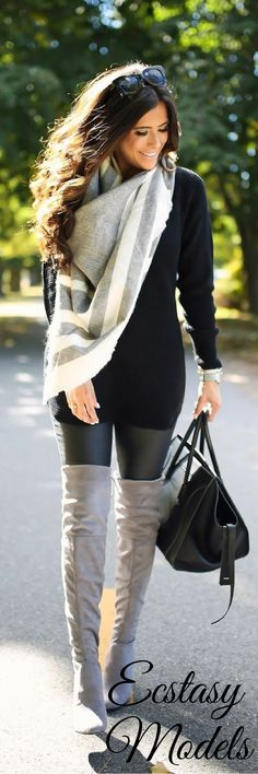 OVER THE KNEE BOOTS W/FAUX LEATHER LEGGINGS // Fashion Look by The Sweetest Thing