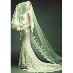 White Color Deep V Lace Little Mermaid Wedding Dress