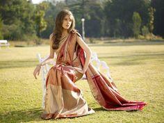 Cream and pink silk saree