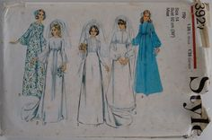Vintage 1970's Style 3921 Sewing Pattern Wedding Dress Gown Bridal Bridesmaid Classic Simple Elegant by CartrefEclectig on Etsy