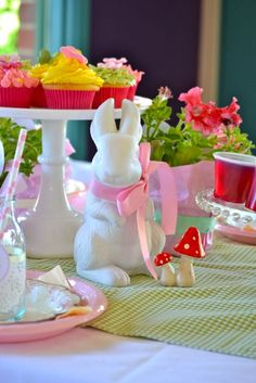 Every Alice party table needs a white rabbit...
