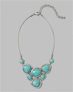 Chico's Turquoise Bib Collar Necklace