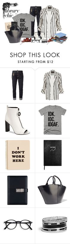 """""""Library Chic"""" by lustydame ❤ liked on Polyvore featuring Dsquared2, River Island, Calvin Klein, ban.do, Sloane Stationery, The Row and GUESS"""