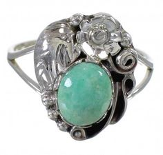 Turquoise Sterling Silver Flower Southwest Ring Size 6-1/2 AX88239-1
