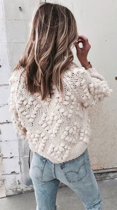 #fall #outfits women's white long sleeve knitted top