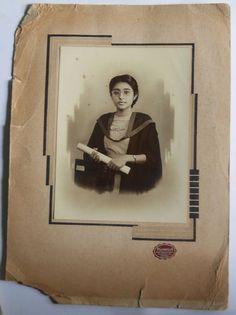 India 1930s Vintage Photo Lady with Degree mounted on cardbord #p54