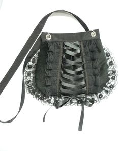Gothic Corset Bag with Lace Ruffles...not sturdy, no black tie affairs, but very cute everyday I imagine!