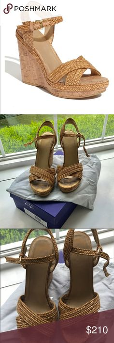 """Stuart Weitzman Minx Espadrille Camel w/box sz 7.5 Excellent condition!Only signs of wear on footbed.Any cork insole will immediately show toe prints even after only 1 wear.Also wear on insole where logo is.No signs of wear anywhere else.These are sold out at every store in most sizes,including 7.5-8.5.I have 4 pairs of Weitzman wedges so I am ready to give up 1 pair.Box and dust bag.Size 7.5 but would fit a true 8.4.8"""" cork wedge heel;1.3"""" platform;3.5"""" equiv.Crisscross straps band open…"""