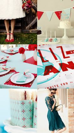 Squirrelly Minds » Wedding Colour Board – Red and Teal. >>I don't like it for a wedding theme. Looks great for a party.