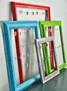 Cute way to hang photos, cards, memos, etc. and so simple/cheap to make!