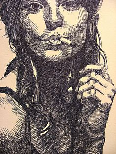 Drawing Ink smoke, cross hatching // pen styles for my apartment - grabado con aguafuerte 2007 Ink Drawings, Drawing Faces, Drawing Sketches, Sketching, Hatch Drawing, Stylo Art, Cross Hatching, Face Sketch, Pen Art