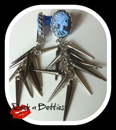 2G Plugs with Blue and Black 18x13 gothic  by RockNBetties on Etsy, $30.00