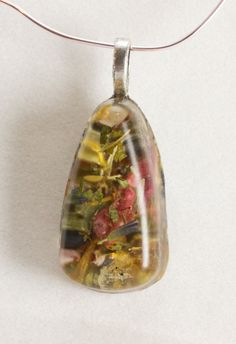 Spring flower petals and herbs necklace in Resin by GreyGyrl, $12.00