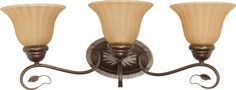 Nuvo 60/1177 Three Light Vanity with Champagne Glass, Sonoma Bronze by Nuvo. $58.30. Sonoma bronze three light vanity with champagne glass. (3) 100-Watt A19 bulbs not included.. Save 17% Off!