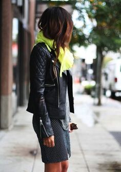 Polka dots skirt, leather coat and neon scarf
