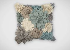 Flannel flowers in shades of gray, mineral, and taupe dress our fabulous floral flight of fancy. One-hundred percent cotton front and back.
