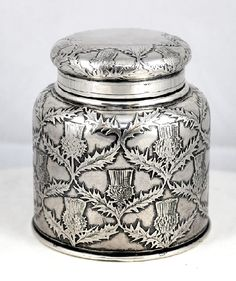 Century Tiffany Co Sterling Silver Thistle Patterned Inkwell Ink Well Vintage Silver, Antique Silver, Antique Boxes, Pen Nib, Fountain Pen Ink, Glass Art, Vintage Items, Bronze, Wax Seals