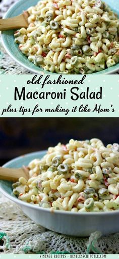There s nothing quite like a creamy old fashioned macaroni salad recipe to bring back memories of summer This is like the Hellmann s classic recipe From via Marye at Restless Chipotle Best Pasta Salad, Pasta Salad Recipes, Healthy Salad Recipes, Delicious Recipes, Slaw Recipes, Dishes Recipes, Sauce Recipes, Tasty, Southern Macaroni Salad