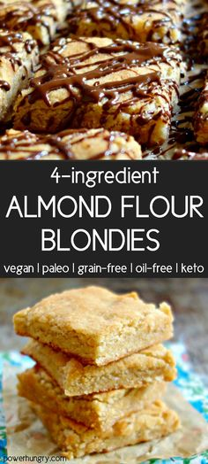 healthy blondies made with almond flour & coconut flour they are naturally grain-free gluten-free oil-free Paleo & vegan plus I have a keto option! Desserts Végétaliens, Almond Flour Desserts, Almond Flour Cookies, Desserts Sains, Almond Flour Recipes, Easter Desserts, Paleo Dessert, Dessert Sans Gluten, Dessert Recipes