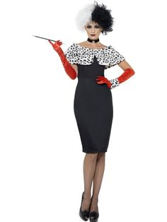 Adult 101 Dalmations Cruella De Ville Outfit Fancy Dress Costume Womens Female | eBay