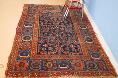Red and Blue Kurdish Bidjar Persian Area Rug $875