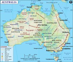 Explore Australia with our digital map of Australia. The map is a highly detailed Physical Map, illustrating the physical features of the continent. It also some the political division of the six states of Australia. The digital map is available in variou Cairns, Australia Country, Australia Map, Australia Facts, Australia Continent, Visit Australia, Detailed Map Of Australia, Satellite Image Map, Map Pictures