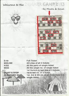 Summer Camp Theme Tambola Ticket - Fun In Kitty Party