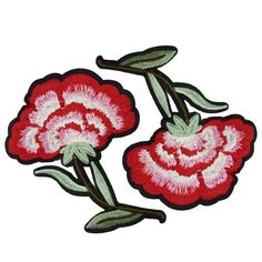 2 Iron On Embroidered Flowers Patches Appliques by BeeComeCrafty