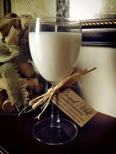 One 8oz Wine Glass Soy Candle - Chardonnay Scented. $8.00, via Etsy.