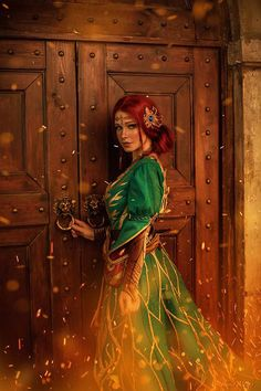 Triss Merigold from the witcher cosplay by Irina Meier cosplay photo by Olga Tataurova Chica Fantasy, Fantasy Rpg, Anime Fantasy, Medieval Fantasy, Fantasy Girl, Fantasy Artwork, Witcher Triss, Witcher Art, The Witcher 3