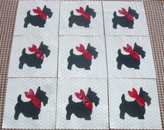 9 Applique Black Scottie Dog Quilt Kit Blocks by MarsyesQuiltShop, $10.95