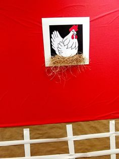 Big Heart Farms, VBS, 2015, decor ideas, barn window, chicken, picket fence  Here, too, the vertical black lines (using a Sharpie) had not yet been added to give more of a wood-slat barn wall effect.