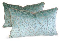 Colefax &  Fowler Velvet Pillows, Pair