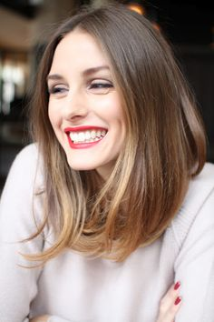 Olivia Palermo's perfect hair color and perfect length paired with a bright lip is...perfect :)