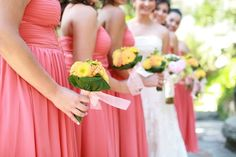 coral and yellow wedding | coral and yellow