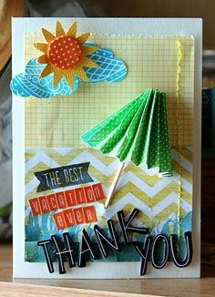 Thank You - by Mandy Koeppen using products from American Crafts. #summer #cardmaking #thanks #amytangerine