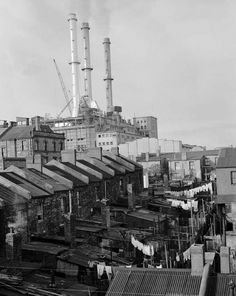 The working class houses of Pyrmont,Sydney in 1955.The fourth stack being constructed to Pyrmont Power Station. 🌹