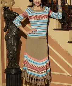 Take a look at the Roja Beige & Pink Stripe Fringe Southwestern Midi Skirt - Women on #zulily today!