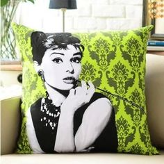 Large Classic Marilyn Monroe Hepburn Printed Cotton Linen Pure Suede Fabric Cushion Cover For Sofa Decorative Throw Pillow Case